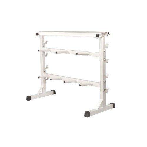 GORILLA SPORTS Hantel-Scheibenständer Hantel-Ablage Weiß 30/31mm Hantel-Ständer für Gewichte : Langhantel, Kurzhantel, Gewichtsscheiben