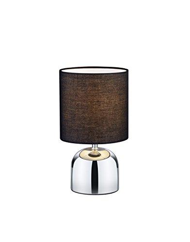 Reality, Lampe de table, Jan 1xE14, max.40,0 W Tissu, Noir, Corps: metal, Chrome Ø:16,0cm, H:29,5cm IP20,ON/OFF Touch