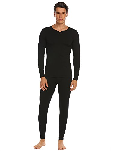 ADOME Herren Unterwäsche Set Langärmeliges Hemd & Lange Unterhosen Thermounterwäsche Set