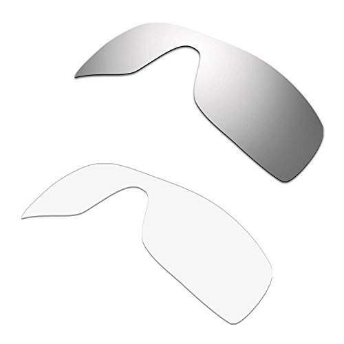 HKUCO Plus Replacement Lenses For Oakley Batwolf Sunglasses Silver/Transparent Polarized