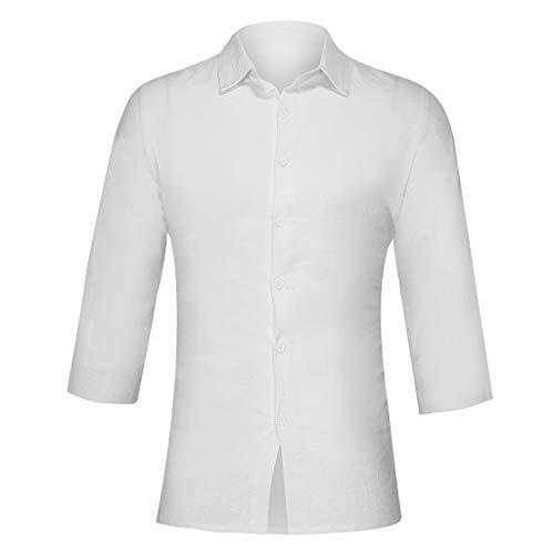 Aoogo Herren Fashion Pure Baumwolle und Leinen Hemden Fashion Seven Sleeve Top