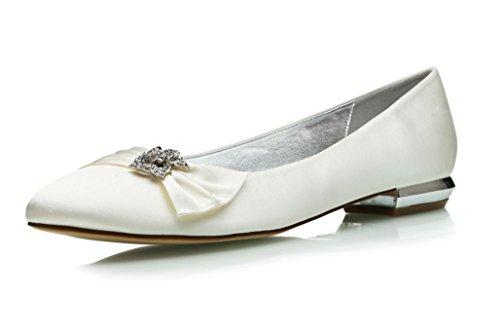 MarHermoso Damen Hochzeit Schuhe Runde Ballerinas Brautschuhe Satin Elfenbein Größe 44