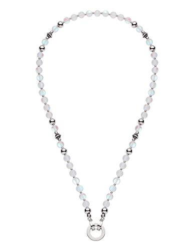 JEWELS BY LEONARDO DARLIN\'S Damen-Halskette Catania, Edelstahl mit Zierscheiben, Glas- und Edelstahlperlen, CLIP & MIX System, Länge 450 mm, 016479