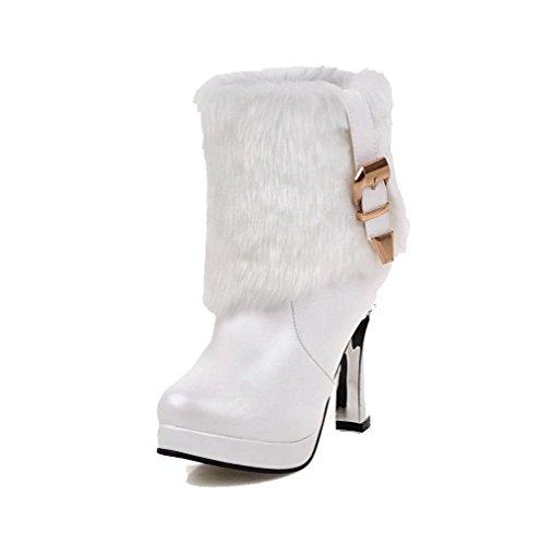 AgooLar Damen Ziehen Auf Rund Zehe Hoher Absatz Weiches Material Niedrig-Spitze Stiefel Weiß