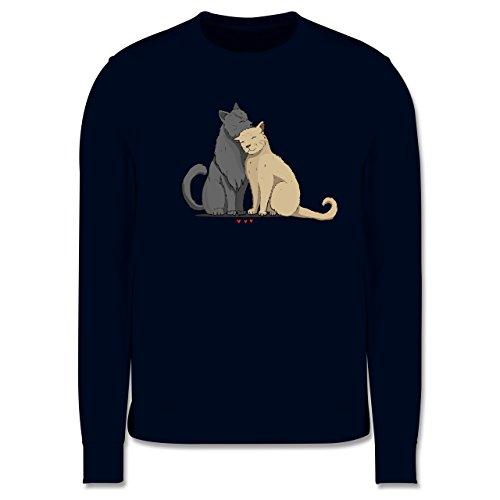 Katzen - kuschelnde Katzen - Herren Premium Pullover Dunkelblau