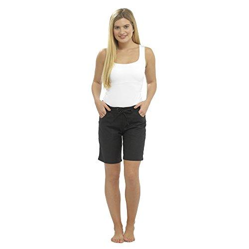 CityComfort Damen Leinen Freizeithosen Urlaub elastische Taille Damen Sommer Hosen Hosen Shorts beschnitten mit Taschen (16, Schwarze Shorts) -