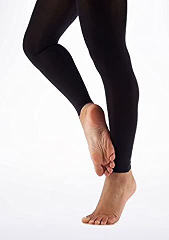 Mytoptrendz® Adult Women's Lady Footless Dance Tights Soft Opaque with Spandex - Black large