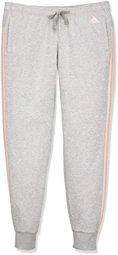 adidas Damen Essentials 3 Stripes Closed Hem Hose, Grey Heather/Haze Coral, XL
