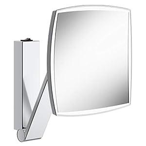 KEUCO Wand-Kosmetikspiegel mit Schwenkarm, LED-Beleuchtung, 5-facher Vergrößerung, mit Wippschalter, 20x20cm, eckig, chrom, iLook_move