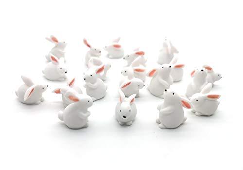 Easy 99 Mini Tiere Miniaturfiguren Tiere Modell Feengarten Miniatur Moos Landschaft DIY Terrarium Basteln Ornament Zubehör für Heimdeko Rabbit, Pack of 20 (Diy-modell)