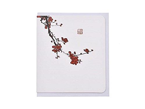 Suprerhoung biglietti d'auguri con buste biglietti d'auguri in bianco carte cinesi classiche stampa d'epoca floreale (prugna rossa)