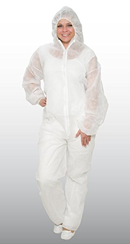 10 x Einweg-Overall Schutzanzug aus PP weiß - Größe L - Marke: BICAP