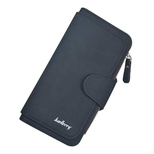 Jangostor Wallet für Frauen Leder Clutch Geldbörse Lange Damen Kreditkarteninhaber Organizer (Black)