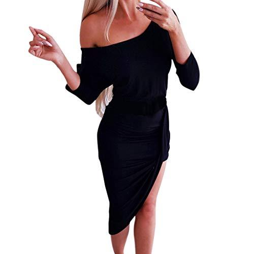 Lange Short Kleid Damen Sommer Elegant Sling Party Dress Cocktail Mode Frauen Sommer Voller ÄRmel Gabel EröFfnung TräGerloses Kleid Schwarz L -