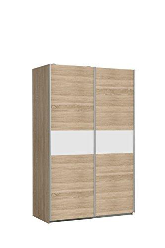 FORTE Ohio Kleiderschrank, Holzwerkstoff, Korpus in Sonoma Eiche Dekor mit einer Front in Sonoma Eiche Dekor und weißer Bauchbinde, B*T*H: 120 x 61,2 x 190.50 cm