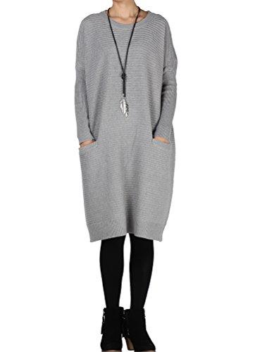 MatchLife Damen Streifen Pullover Rundhals Strickjacken Style1-Grau