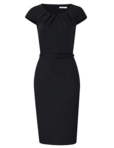 KOJOOIN Damen Etuikleid Business Bodycon Knielang Kleider Kurzarm festliches Cocktail Bleistiftkleid mit Gürtel Schwarz M - Business Kleidung