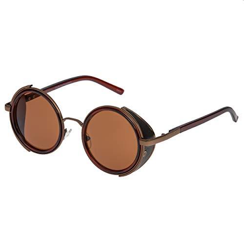 Ultra Steampunk Sonnenbrille braun mit braunen Linsen 50er Jahre Runde Gläser mit UV400 Schutz verfügbar in Gold Silber braun und Tee Kupfer Cyber Goggles begeisterte Goth Vintage