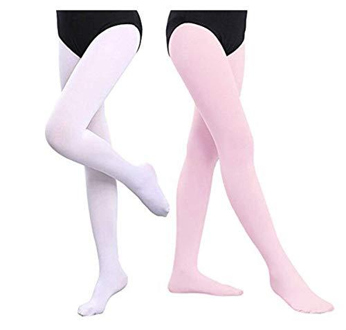 Mangotree 2 Pack Mädchen Ballett Strumpfhose Ultra-weiche Ballett Tanzstrumpfhose Übergang Strumpfhosen Professionelle Tanz Leggings Microfaser 120DEN (M (3-5 Jahre alt), Weiß + Rosa)