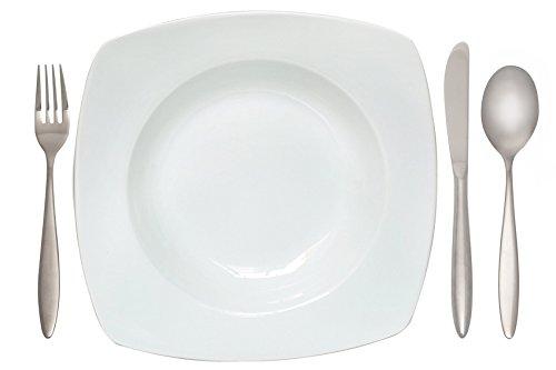 6er Set, Tiefe Teller, Suppenteller, Salatteller, ca. 23cm, eckig, Porzellan