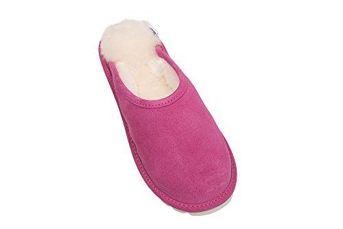 Femmes Luxe Peau De Mouton Pantoufles Chaussons Avec Doublure Chaud Laine D68P Rose