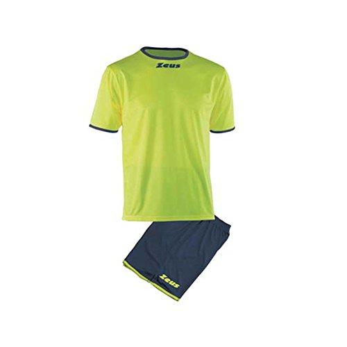 Zeus Kit Sticker Herren Kinder Set Trikot Shirt Hosen Klein Armel Kit Fußball Hallenfußball Gelb Fluo (L)