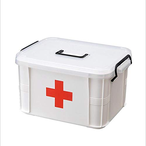 HEHAHA-STUDIO Medizinische Box Doppeldeck Tragbare Medizinische Box, Haushalts-Medizin-Box Für Haushaltsmedizin, Extra Groß