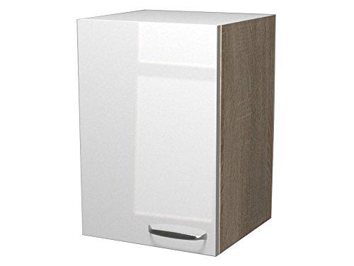 Flex-Well Exclusiv Oberschrank Valero 40 cm x 55 cm Hochglanz Weiß-Sonoma Eiche