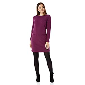 b7a3377040b79 Roman Originals Women Ribbed Shift Dress – Ladies 58% Cotton Smart Casual  Work Office Everyday Round Neck Knee Length Long Sleeve Pocket Day Dresses