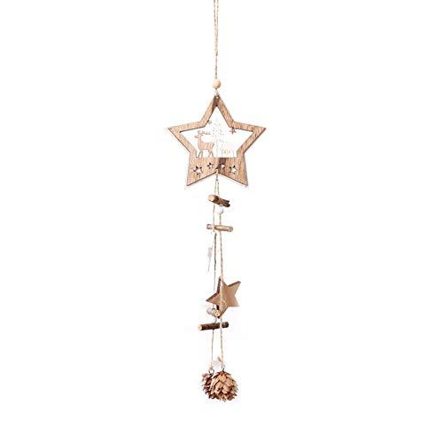 Daliuing Colgante Decorativo de Navidad Adornos de Navideña Estrella Adorno de Madera...