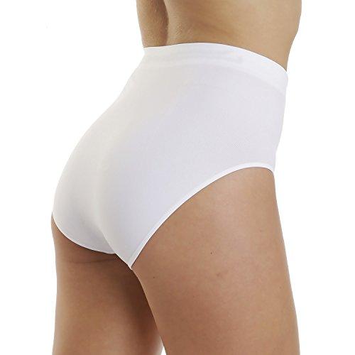 Lisamoda Damen Taillenslip 6er Pack Seamless uni Weiß