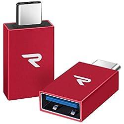 Rampow Adaptador OTG compacto Micro USB (C)) macho a USB (A) hembra - color rojo (2 unidades)