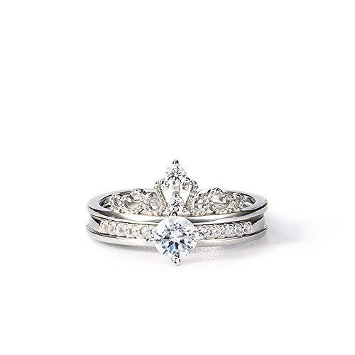 MLL Sterling Silber / 925 Silber Ring/Paar Ring/Männer und Frauen Ring kreative Ring/Silber/Krone Ring/Diamant Ring,Silber,Nr. 16