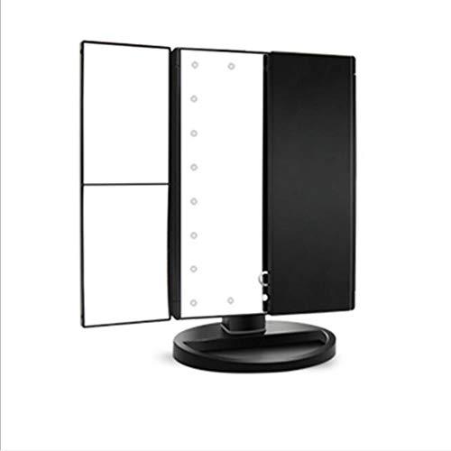 Miroir de maquillage XIAHE Pliant À Trois Côtés De Bureau À LED avec Miroir Lumineux Miroir De Coiffeuse Miroir Pliant Multifonctionnel (Couleur : Blanc)
