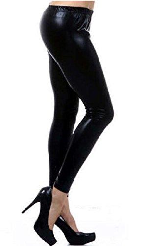 Verrückte Mädchen Frauen Damen Metallic Glänzend Glanz Squad Kostüm Wet Look Leggings (M/L-EU40/42, Black)