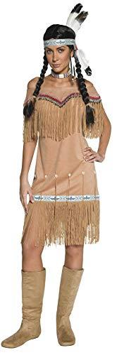 Authentische Western Kollektion Indianerin Kostüm Beige mit Kleid und Umsäumung, - Indianerin Kostüm