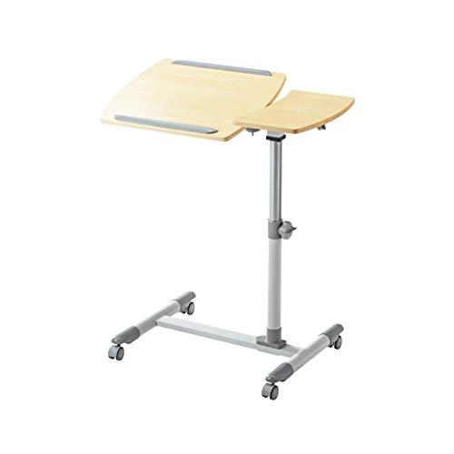 NBgy Side table Nachttisch Kann Laptop-Tisch, Tilt The Table, Tragbare Mobile Medizinische Patientenbetreuung Bett Tisch Multifunktions-Fach Halter, 2 Farben, 57-83 Cm (Farbe : Light wood) - Bett-tisch Tilt