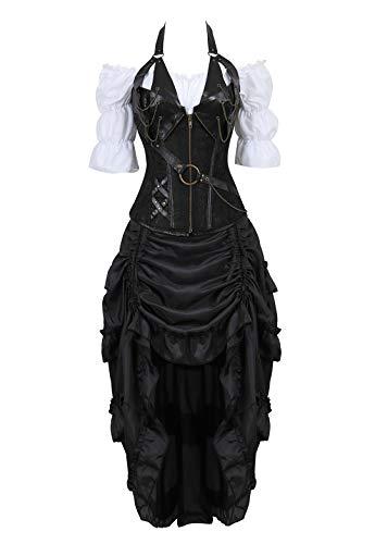 (Kranchungel Corsé de Estilo victoriano Steampunk Con Camisa gótica Con volantes y Falda pirata de, juego de 3 trajes 6X-Large Negro)