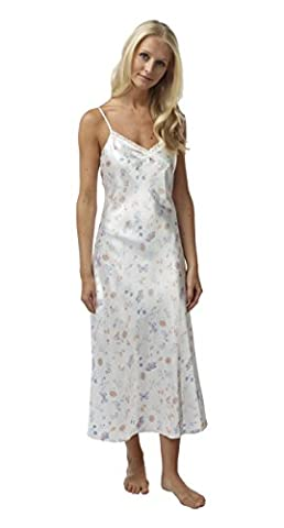 Ladies Long BHS Satin Chemise Nightdress. Ivory Butterfly Print. Sizes 8 10 12 14 16 18 20 22 (16, IVORY)