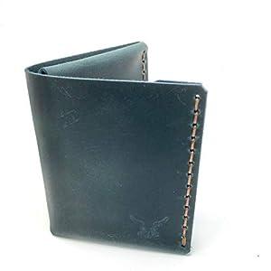 blauer mini Männer Leder Geldbeutel, handgenäht & metallfrei