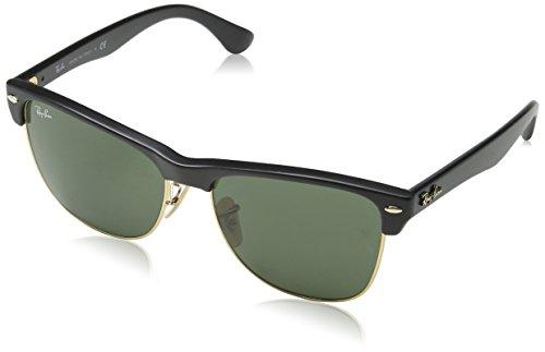 RAYBAN Unisex Sonnenbrille Clubmaster Oversized Gestell: schwarz, Gläserfarbe: grün klassisch, Umrandung der Gläser: Gold 877), Large (Herstellergröße: 57)