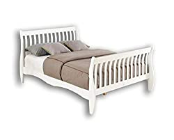 Unmatchable Double 4FT6 Sleigh Bed Frame made with White/Natural Solid Pine Wood (White)