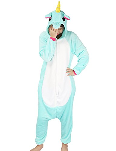 Einhorn Pyjamas Kostüm Jumpsuit Tier Schlafanzug Erwachsene Unisex Fasching Cosplay Karneval (Small, Grün) (Einfache Einhorn Kostüm)
