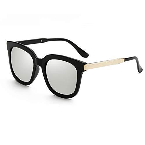 DAIYSNAFDN Sonnenbrille Frauen Männer Runde Süßigkeiten Linse Dame Runde Sonnenbrille Klassische Retro Goggle Black Silver