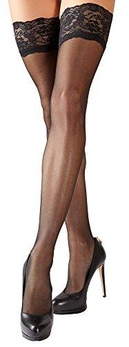Schwarze verfüherische sexy halterlose Strümpfe mit Spitzen-abschluss breiter Spitzenborte für schwarze Dessous Strapse Strümpfe Slips Strings Unterwäsche Panties Reizwäsche Tangas (M)