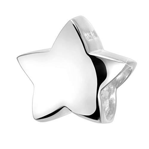 Materia Damen Charms Anhänger 925 Silber - Beads Stern für Armband - Kinder Anhänger Kette rhodiniert #746