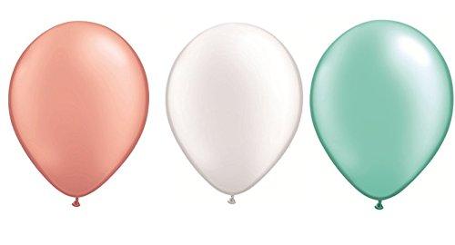 DeCoArt... Set Preis 60 Luftballons Pastell perl Rose Gold, weiß und Mint je 20 ca. 28 cm und 60 Ballonverschlüsse Polyband weiß, EIN Aufblasventil sowie Infoblatt