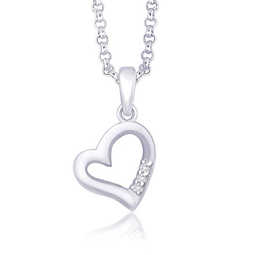 Taraash 925 Sterling Silver CZ Three Stone Heart Pendat PD1512R