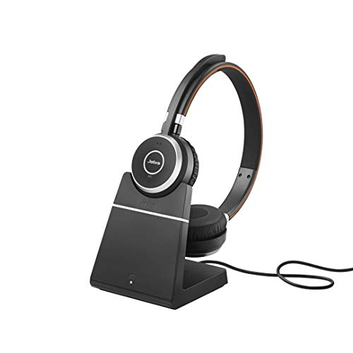 Jabra Evolve 65 MS Stereo Wireless-Bluetooth-Headset für PC/Smartphone/Tablet, telefonieren und Musik hören, Skype for Business zertifiziert, inkl. Ladestation Wireless Binaural Noise Cancelling Headset