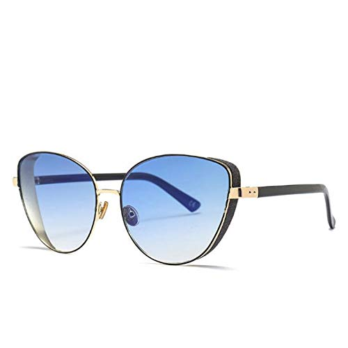LLISA Mode Multi Color Sun Glass Frauen Cat Eye Sonnenbrille Shiny Frame Shades Damen Eyewear Fashion Goggle,C5 blau